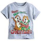 """DISNEY STORE CHIP 'N DALE HOLIDAY TEE T-SHIRT """"DON'T OPEN UNTIL CHRISTMAS"""" NWT"""