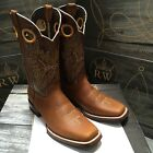 MENS RODEO COWBOY BOOTS GENUINE LEATHER WESTERN SQUARE TOE BOOTS LIGHT BROWN