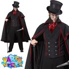 Jack the Ripper Costume Mens Victorian Halloween Vampire Fancy Dress Outfit