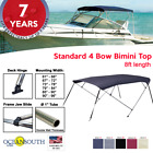 BIMINI TOP 4 Bow Boat Cover 8ft Long With Rear Poles image