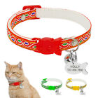 Embroidery Small Dog Cat Collar Breakaway & Tag Set Quick Release for Pet Kitten