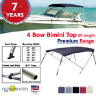 BIMINI TOP PREMIUM RANGE 4 Bow Boat Cover 8ft Long With Rear Poles