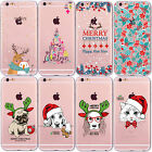 Christmas Pug Dog Cat Reindeer Clear Phone Case iPhone 8 Plus 7 X 6 6S 5 5S SE