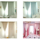 US Blackout Window Curtain Living Room Bedroom Hanging Pleated Panel Decor 4Colors