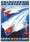 Vintage 1940s Power Boat Racing Poster Lake Geneva Switzerland 1946 Art Deco