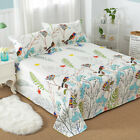 Floral Printed Flat Sheet 100% Cotton Bed Sheet Pillowcase for Child Kids Adults image