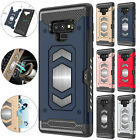 For Samsung Note 9 S9 S8 Case Magnetic Card Slot Hybrid Rubber Hard Armor Cover