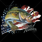 Pursuit Of Happiness Fish Bass USA America Patriotic Fishing T-Shirt Tee