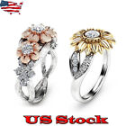 USA Womens Sunflower Silver Rose Gold Ring Plated Zircon Promise Wedding Jewelry image