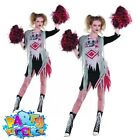 Ladies Cheerless Zombie Scary Cheerleader Costume Halloween Fancy Dress Outfit