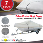 HEAVY DUTY100%SOLUTION DYED POLYESTER V-HULL CUDDY CABIN BOAT COVER image