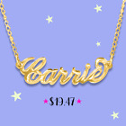 Personalized Name Necklaces 24K Gold Plated , Any Name Plate with Necklace .USA
