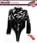 Women's Sexy PVC Black Long Sleeved Zip Up Body With High Collar (SPG061)