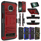 For Motorola Moto Z3 Case Hybrid Belt Clip Holster Kickstand Hard Phone Cover