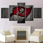 5 Panel Tampa Bay Buccaneers Logo Canvas HD Prints Painting Wall Art Home Decor