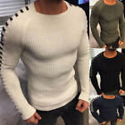 Fashion Men O-Neck Solid Knit Sweater Long Sleeve Slim Fit Pullover Top Noted