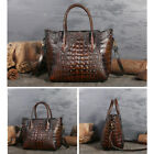 New Women's Genuine Leather Crocodile Grain Handbag Crossbody Shoulder Tote Bag image