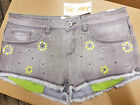 BNWT SUPERDRY GREY HOT PANTS SHORTS NEON EMBROIDERY SIZES 28  8  UK SALE