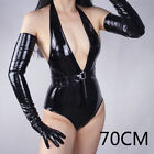 Shiny Patent Faux Leather Gloves Lady Wrist Long Wet Look Latex Cosplay Fashion