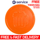 BEER EMBOSSED PLASTIC ORANGE TOKENS DRINK WEDDING BAR PARTY EVENT PARTY FESTIVAL