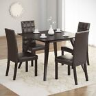 CorLiving Atwood 5 Piece Dining Set with Dark Brown Leath...