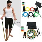 11PCS Resistance Band Set Yoga Pilates Abs Exercise Fitness Tube Workout Bands image