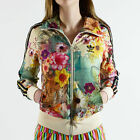 FLORAL ADIDAS WOMEN FIREBIRD FARM PALE YELLOW FLOWER BLACK TRACK TOP JACKET