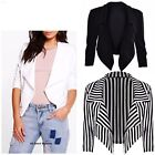 New Womens Ladies Waterfall Style Cropped Blazer Jacket Coat