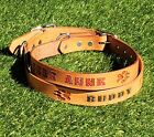 """TAN 1"""" Real Leather Dog Collar, Personalized Pet Name, Optional Phone Number"""