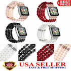 38/42mm Bling Pearl Beads Strap Bracelet Wrist Band For Apple Watch Series 3/2/1 image