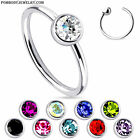 """20G 5/16"""" 3/8"""" Steel Single CZ Gem """"Fixed Ball"""" Captive Bead Ring Nose Hoop Ring"""