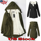 Womens Thicken Fur Collar Hooded Quilted Jacket Winter Warm Parka Coat Overcoat