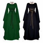 Women Renaissance Witch Black Long Sleeve Costume Halloween Party Cosplay Dress