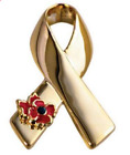 Poppy Flower Ribbon Bow Brooch - Silver/ Gold  Colour