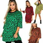 Womens Ladies Oversized Baggy 3/4 Sleeve Round Neck Leopard Print Mini Dress Top
