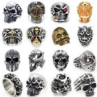 Men's Stainless Steel Silver Fashion Cool Gothic Punk Skull Finger Rings Jewelry image