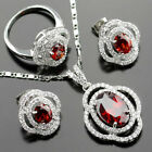 cute RED Garnet & white TOPAZ 925 Silver Necklace Earrings Ring Set