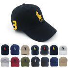 Polo Baseball Cap With Fine Embroidery 3 Big Pony Logo Adjustable Men's Hat NWT