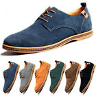 Men Suede Leather Shoes Lace Up Casual Flats Loafers Dress Formal Oxfords Shoes