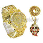 Iced Out 6ix9ine Jigsaw Inspired Necklace & Hip Hop Gold plated Metal Watch Set image