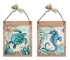 💗 Nautical Pictures Blue Ocean Turtle Seahorse Wall Hangings Tropical Plaques