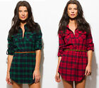 Women's Plaid Flannel Belted Button-Down Long Sleeve Cotton Mini Shirt Dress NEW