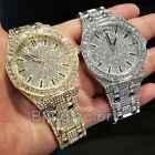 Luxury Men's Iced out Rapper's Lab Diamond Metal Band Dress Clubbing wrist Watch image