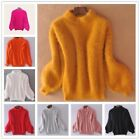 Ladies Faux Mohair Sweater Puff Sleeve Turtle Neck Fluffy Jumper Warm Pullover