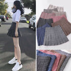 Womens Plaid Pleated High Waist Flared Short Mini Skirt Skort School Girl XS-3XL