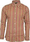Run & Fly Mens Clouds Print Long Sleeved Shirt 60s 70s Geometric Psychedelic