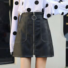 Women Faux Leather Slim A-Line Ring Zip Front High Waist Short Mini Skirt  S-2XL