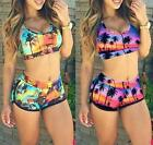 Sexy Swimsuit Women's Crop Top High Waist Shorts Floral Bikini Beach Swimwear