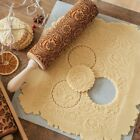 Rolling Pin Flower Wooden Embossing Baking Cookies Biscuit Fondant Christmas