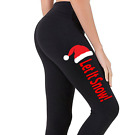Women's Santa Hat Let It Snow Black Yoga Leggings Xmas Holiday Christmas V622